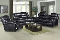 New 3pce Black reclining drop table sofa, love, and chair $1800!