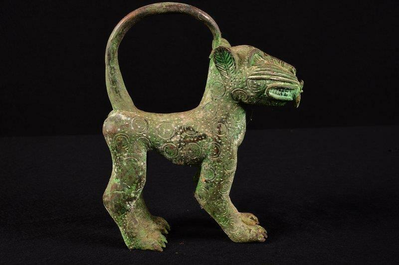 14093 Bronze: African Old Benin Leopard Figure/Figure Nigeria