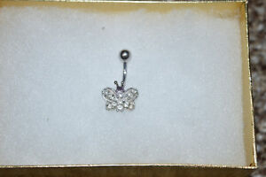 REAL White Gold & Diamond Butterfly Belly Button Ring