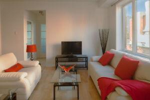 1850$ Montreal. Furnished 2br: bedding+ furniture+ appliances.