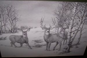 """ALERTED"" 1988.By BERNIE BROWN.LIMITED PRINT OF DEERS."