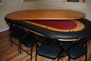 REDUCED: Poker table, top and 10 matching chairs