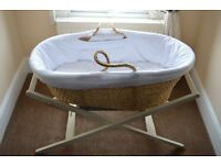 Moses Basket Mamas & Papas with stand/ 2 x mattresses & sheets