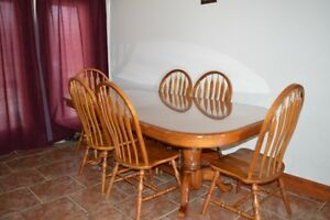 Oak Table Set with Glass Top