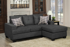 SOFA SECTIONAL COUCH GREY OR CARAMEL WITH FLOATING CHAISE