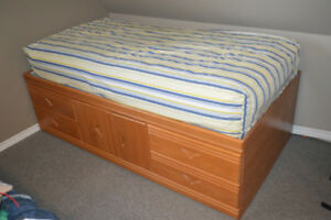2 Identical Oak Captain Beds & Storage Headboards Great Shape!