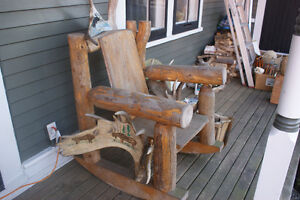 FOLK ART RUSTIC LOG ROCKING CHAIR