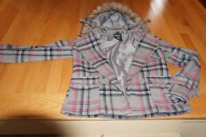 OLD   NAVY  PLAID  JACKET  WITH  DETACHABLE  HOOD