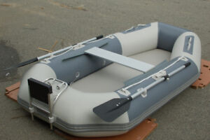 8.5 ft Inflatable rollup Dinghy boat w motor Mount lightweight