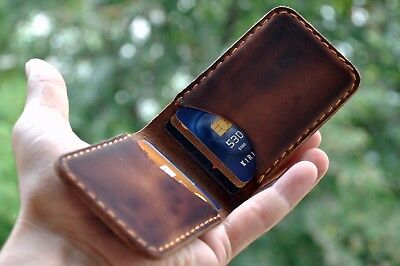 Personalized Handmade Slim Leather Wallet Credit Card Holder Card Wallet