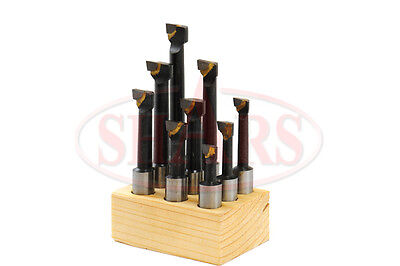 "SHARS 1/2"" Shank Boring Bar Set Premium 9 Pcs Carbide Tipped Bars New"
