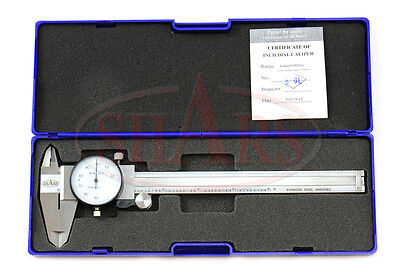 Shars 0- 6 Stainless 4 Way Dial Caliper .001 Shock Proof New
