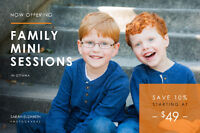 Family Photographer- Mini Photography Sessions starting at $49