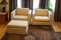 Modern Cube Chairs and ottoman