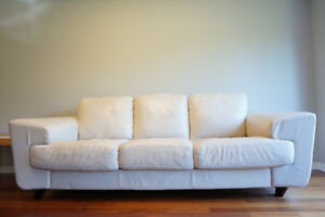 Modern white leather EQ3 (Palliser brand/made by) couch