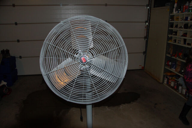 Industrial 24 inch high output electric fan with pedestal
