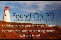 Paying cash for old toys, video games, instruments, collectible