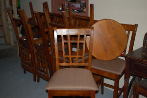 Bar Height Square Table with 8 Chairs and Lazy Susan