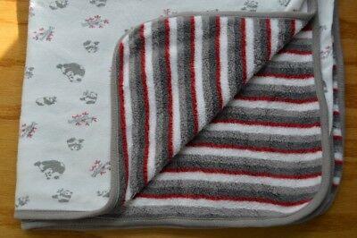 Under the Nile Baby Blanket Panda Bears Stripes Red White Gray Bamboo (Nile Organic Cotton Bear)