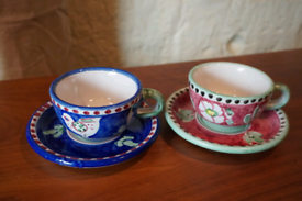 New rustic style hand painted cups and saucers