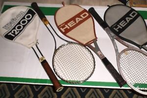 """COLLECTABLE VINTAGE WOOD AND METAL """"SIGNATURE"""" TENNIS RACKETS"""