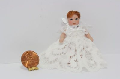 Dollhouse Miniature Red Haired Baby Doll in a White Lace Dress