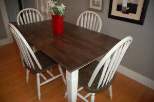 Refinished pine farmhouse table and 4 matching chairs