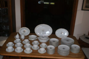 Embassy wheat pattern china. 12 place settings + serving pieces