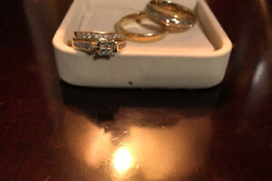 Man and woman's wedding ring set
