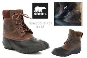 NEW Sorel Mens Cheyanne II Snow Boot Condtion: New, Tobacco, Black, 8.5 M US