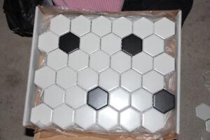 Black and White Hexagon Mosaic Tile