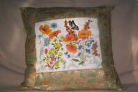 Butterfly & Flower Embroidery Pillow