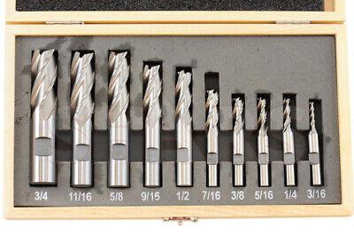 Shars 10 Pcs 316-34 Hss Four 4 Flute Hss Single End Mill Set New P