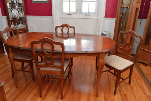 Dining room set: French Provincial Solid Wood Table and Hutch