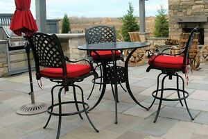 Black Cast Aluminum Patio Table with 5 Chairs