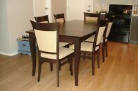 Custom dining room table and 6 chairs