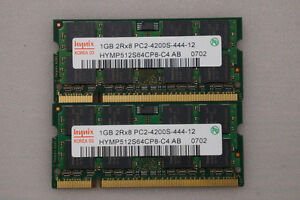 2GB Hynix Laptop Memory (1GBx2) 2Rx8 PC2-4200S-444-12 - $18.00