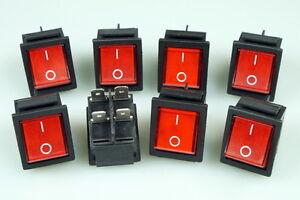 8 Stück Wippschalter Wippenschalter eckig 2 polig Snap in Montage rot Ein - Aus
