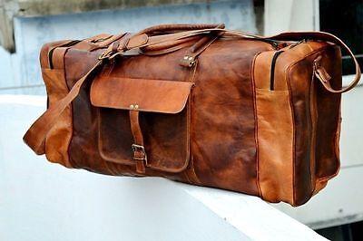 "Bag Leather Duffle Travel Gym Genuine Duffel Luggage Weekend Brown Mens Bag New"""