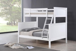Hardwood Single / Double- Courtney - White - by Bunk Beds Canada
