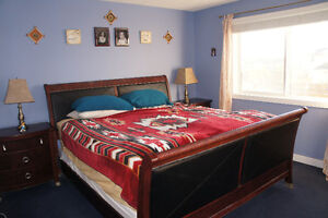 Beautiful Leather/Wood Queen Bed Suite (With 2 Wood Side Tables)