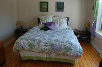 Housse couette rideaux coussins et jupe de lit vert blanc lilas