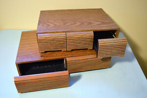 Vintage Faux Wood 3 Drawer & 2 Drawer for Audio Cassette Tapes