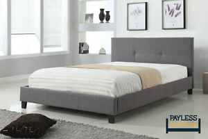 NEW ★ Upholstered Bed ★ linen-style fabric ★ Can Deliver