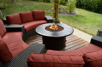 fire table, outdoor patio furniture, wicker furniture
