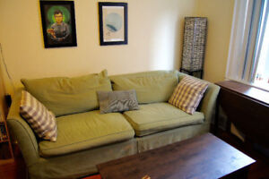Wonderful, comfortable Down-filled couch, with oak frame.
