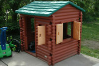 2 Kids outdoor log cabin and house