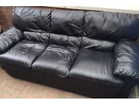 Genuine leather sofas - three piece and armchair