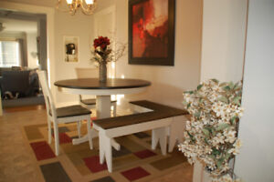 Refinished dining table with corner seating benches and 2 chairs