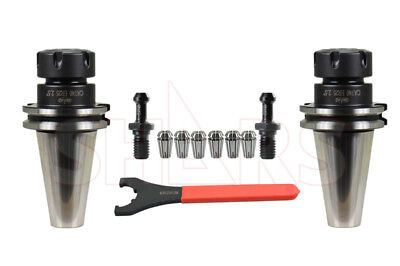 2pc Cat40 Er25 Collet Chuck Tool Holder 2.5 G2.5 20000rpm 6 Collets 2 Studs New